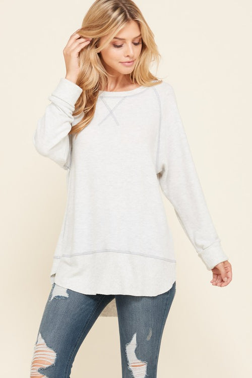 Super Soft Double Layered Knit Tunic - Lighter Grey - FrouFrou Couture