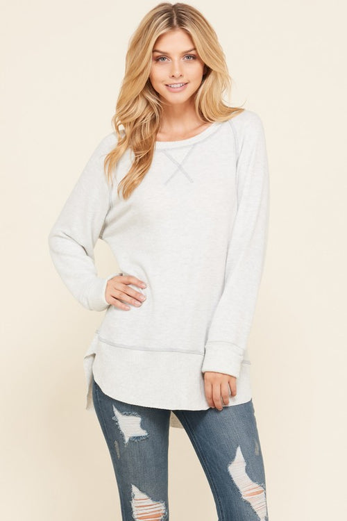 Lighter Grey Tiger Brush boat neck sweater with cuffed sleeves and contrasting hem and stitch detail, relaxed fit tunic style.