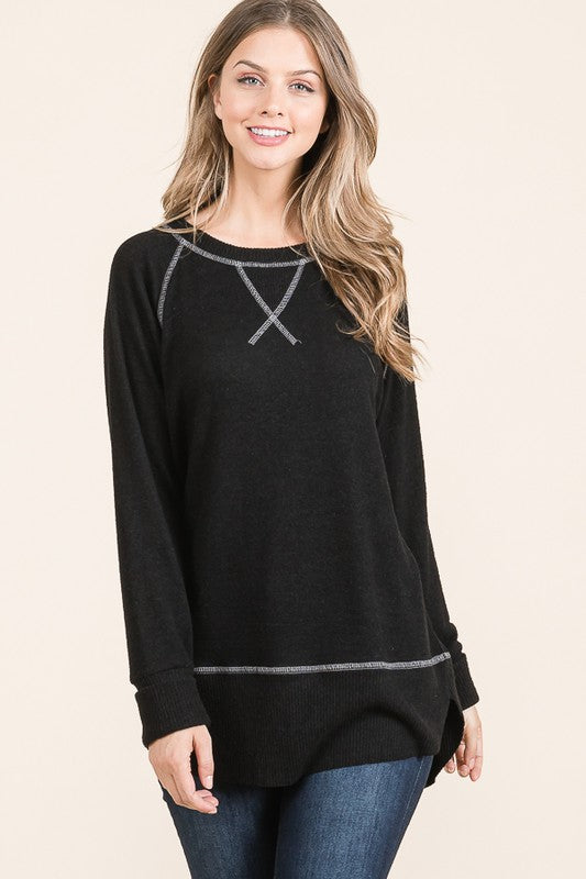 Super Soft Double Layered Knit Tunic - HD415 - Jet Black