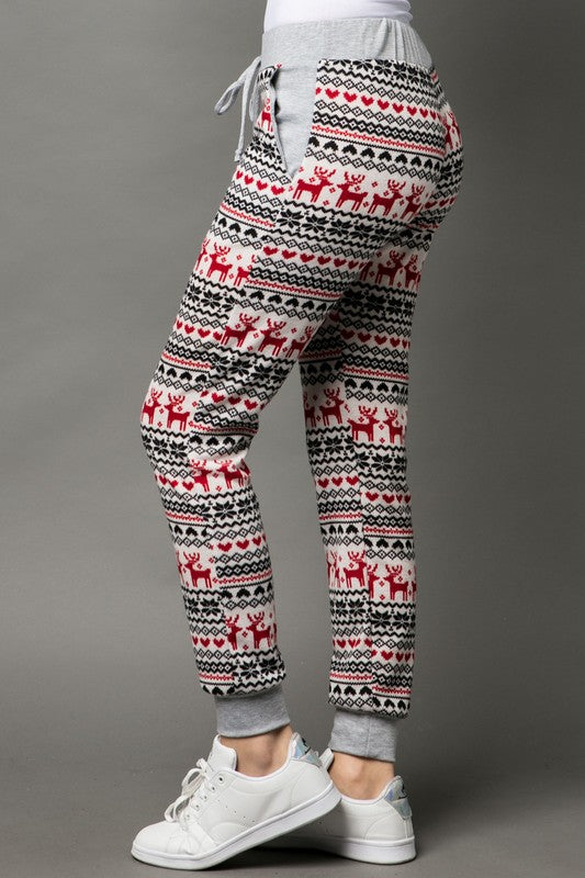 Reindeer Print Jogger Pants with Pockets