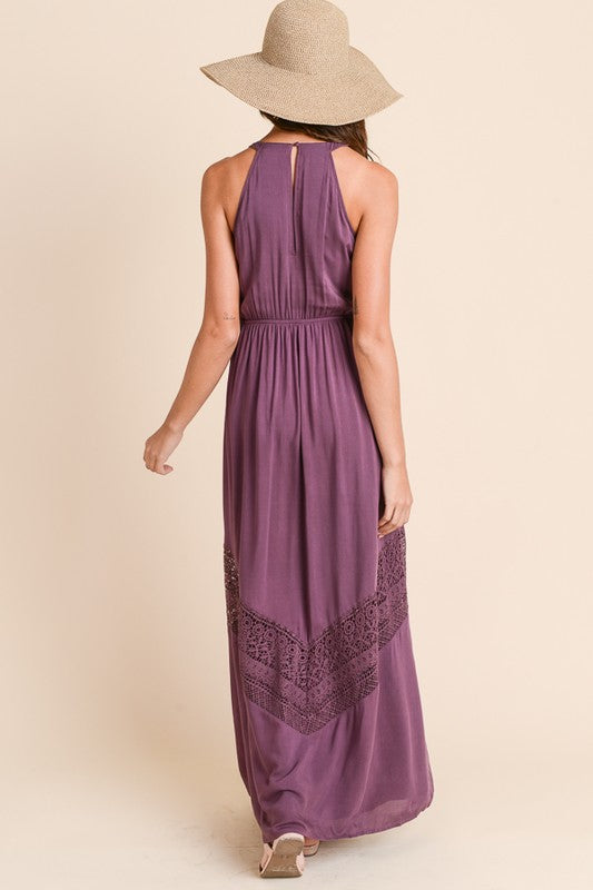 Long Maxi Dress with Crochet Trim