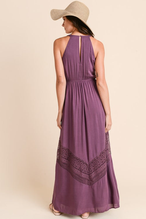 Solid Maxi Dress with Crochet Trim