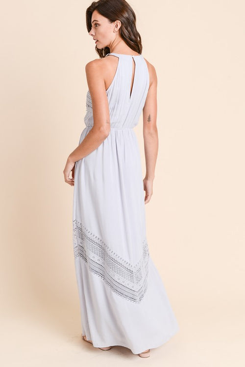 Grey extra long maxi dress with crochet trim
