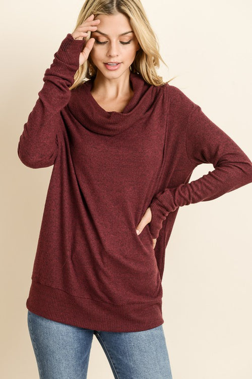 Thumb Hole Hoodie Top - Wine