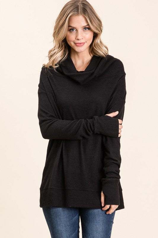 Black, Loose, comfortable fit, tunic with thumb hole, hood and cowl neck
