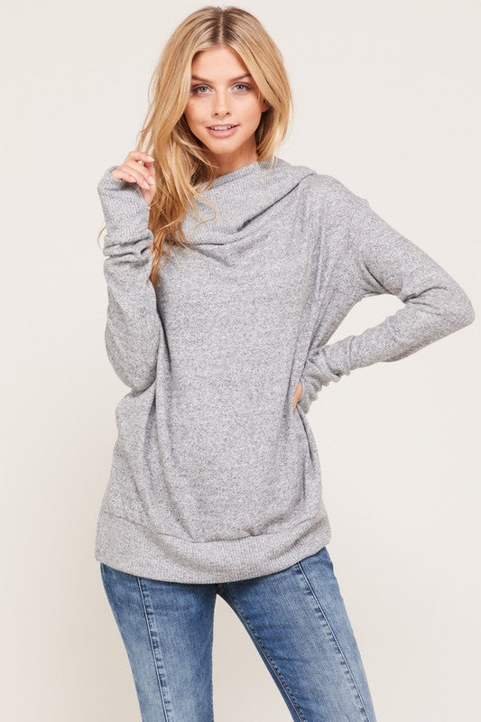 Thumb Hole Hoodie Top- Heather Grey