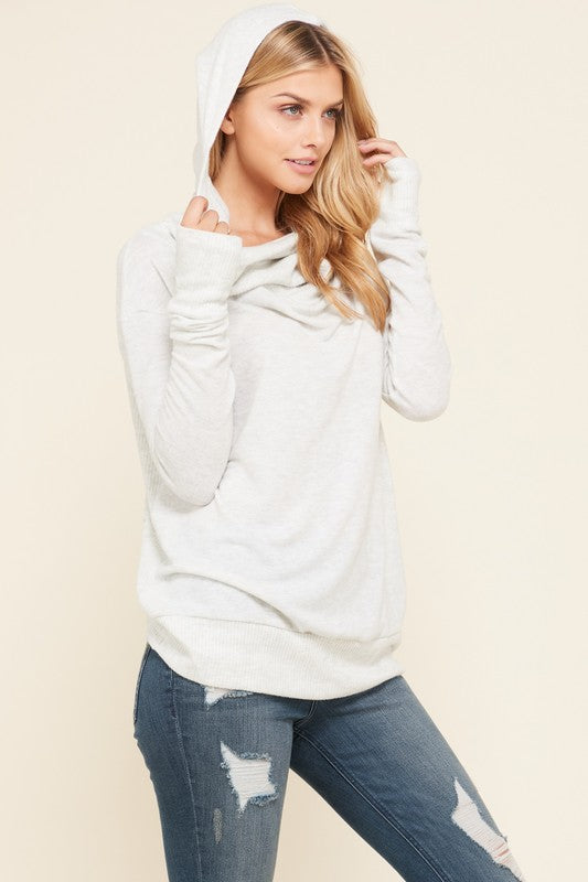 Light Grey hoodie top with cowl neck and Thumb holes