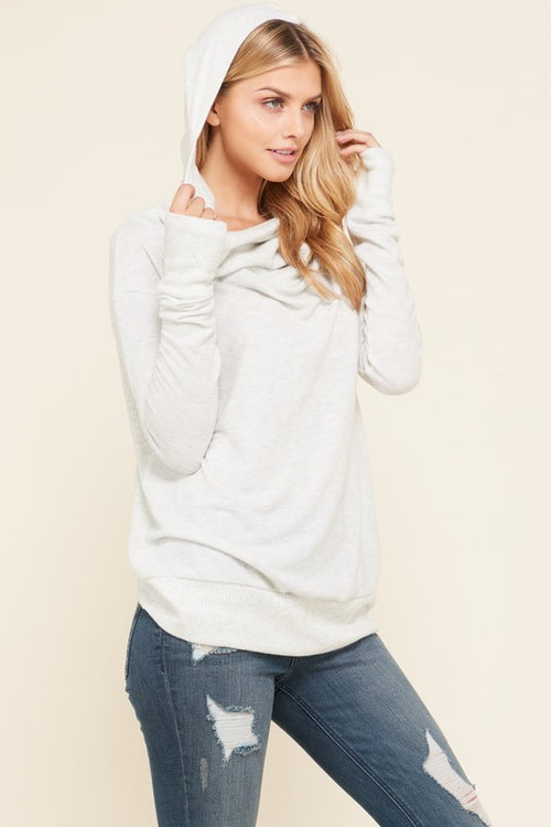 Thumb Hole Hoodie Top- Lt Grey - FrouFrou Couture