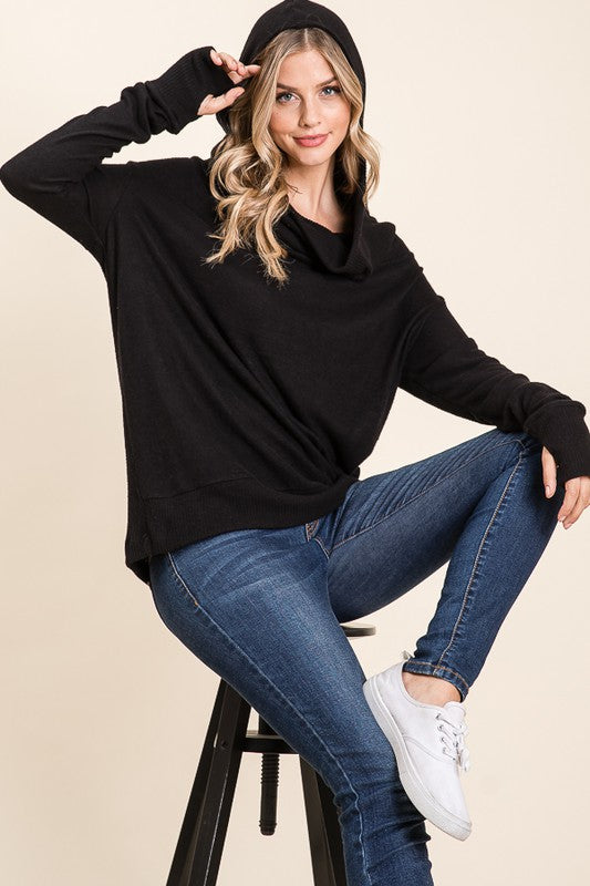 Thumb Hole Hoodie Top - Jet Black