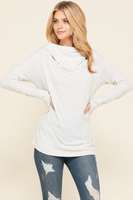 white thumb hole hoodie top