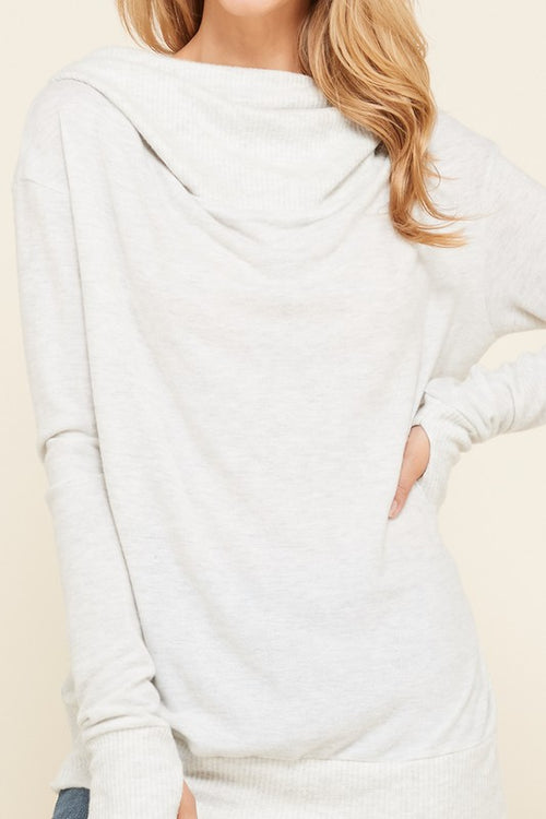 Thumb Hole Hoodie Top- Light Grey