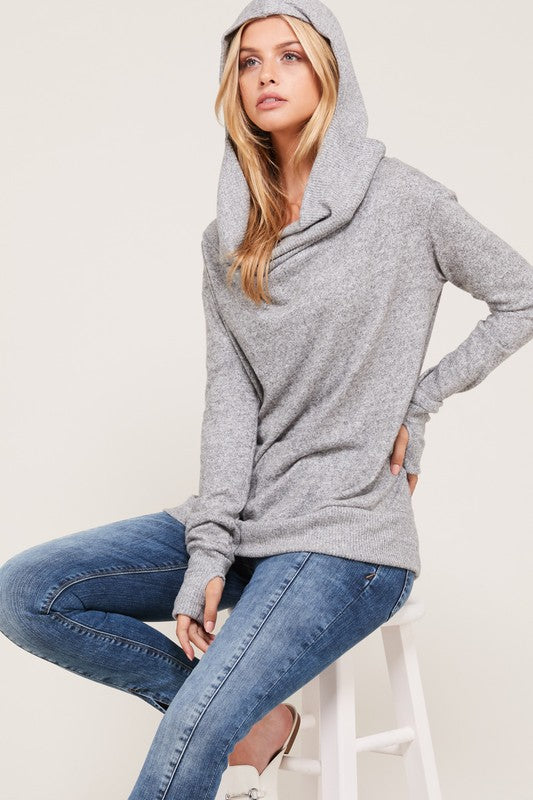 Thumb Hole Hoodie Top- Heather Grey - FrouFrou Couture
