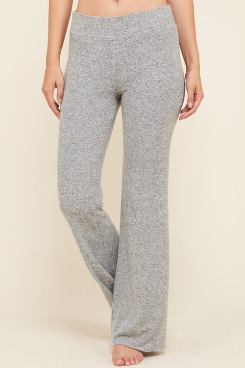 Heavy Tiger Brush Flare Leg Pants - Heather Grey