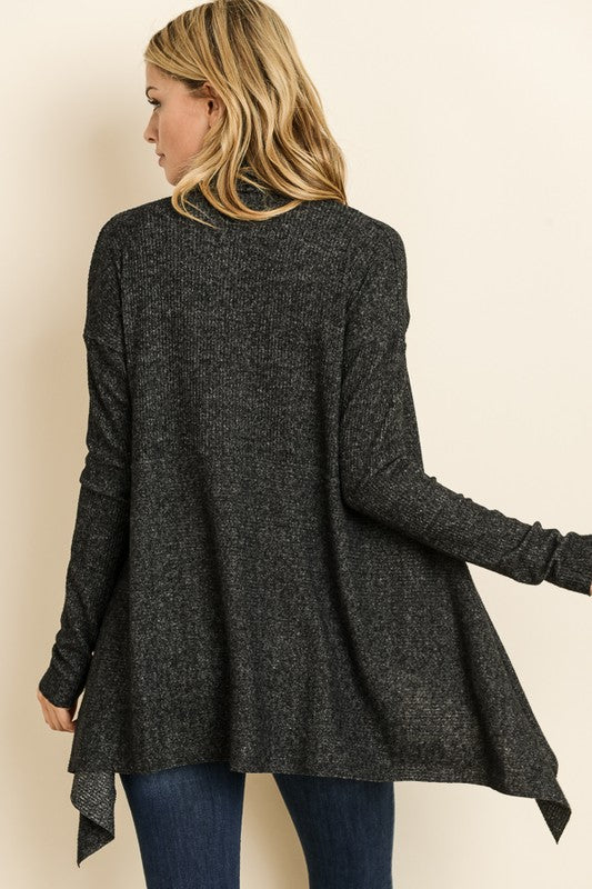 Soft Ribbed Charcoal Open Cardigan