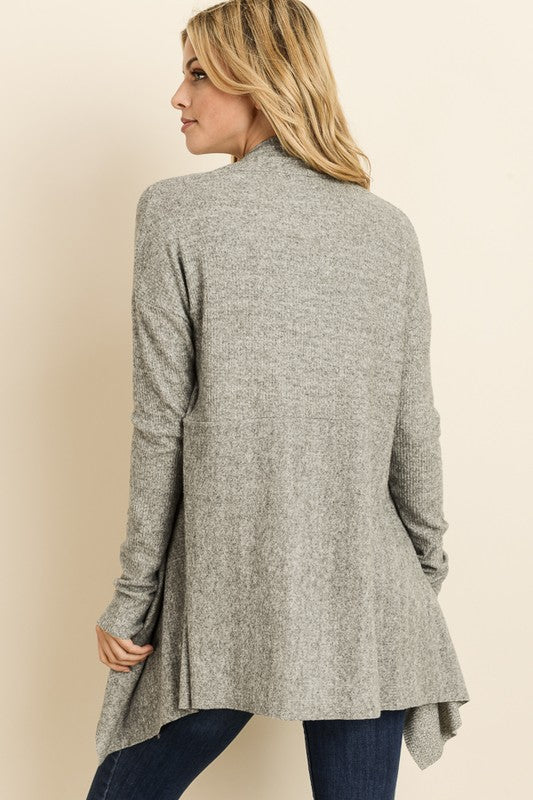 Soft Ribbed Gray Open Cardigan