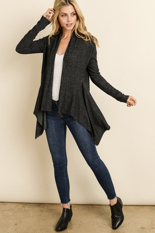 Soft Ribbed Open Cardigan