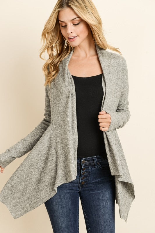 Soft Ribbed Grey Open Cardigan