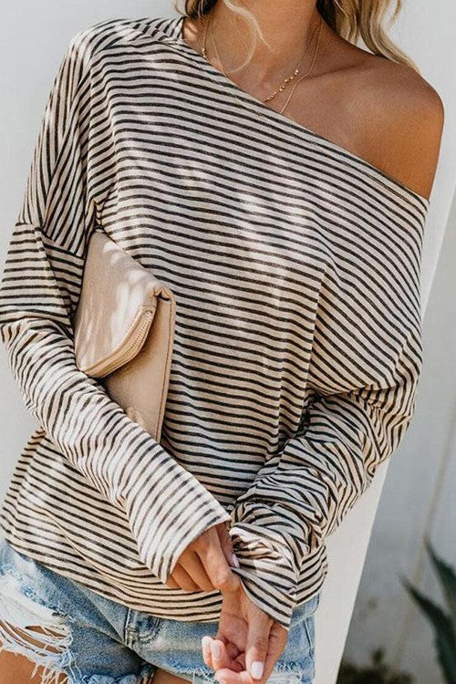 Soft Stripe Knit Casual Top - Ivory