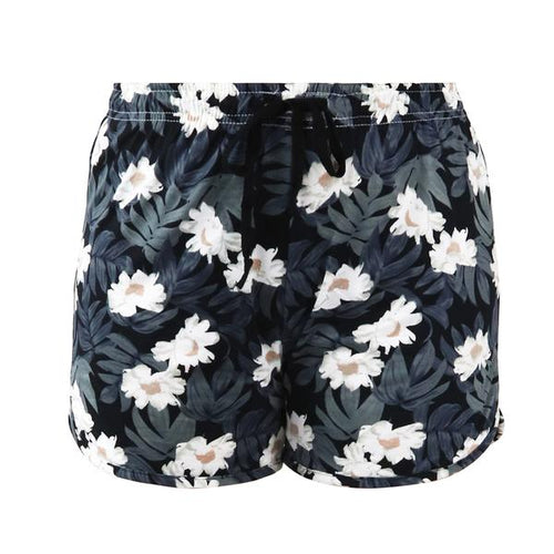 Staycation; white flowers on a black and grey leafy background. Sweet Escape Lounge Wear Shorts by Hello Mello are your companion in comfort. Unwind in the colorful custom designs and fresh style of our signature soft lounge wear. The stretch fabric moves and breathes with you in relaxed fit sizes. All wrapped up in matching travel totes - perfect for gift giving. Shorts have comfortable elastic waistband with adjustable drawstring.