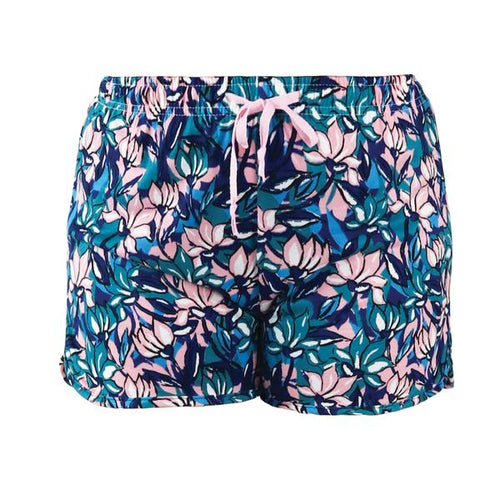 Sunday Funday; multi colored floral of pink, teals and blues. Sweet Escape Lounge Wear Shorts by Hello Mello are your companion in comfort. Unwind in the colorful custom designs and fresh style of our signature soft lounge wear. The stretch fabric moves and breathes with you in relaxed fit sizes. All wrapped up in matching travel totes - perfect for gift giving. Shorts have comfortable elastic waistband with adjustable drawstring.