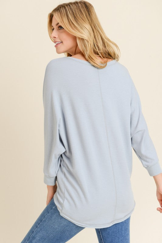 Cool Grey French Terry Dolman Top