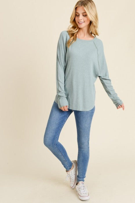 TEAL HI LOW STITCH DOLMAN SLEEVE TOP