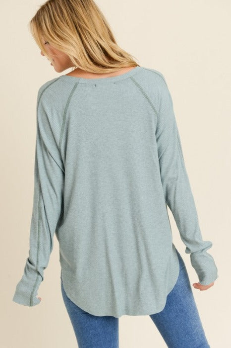 HI LOW STITCH DOLMAN SLEEVE TOP