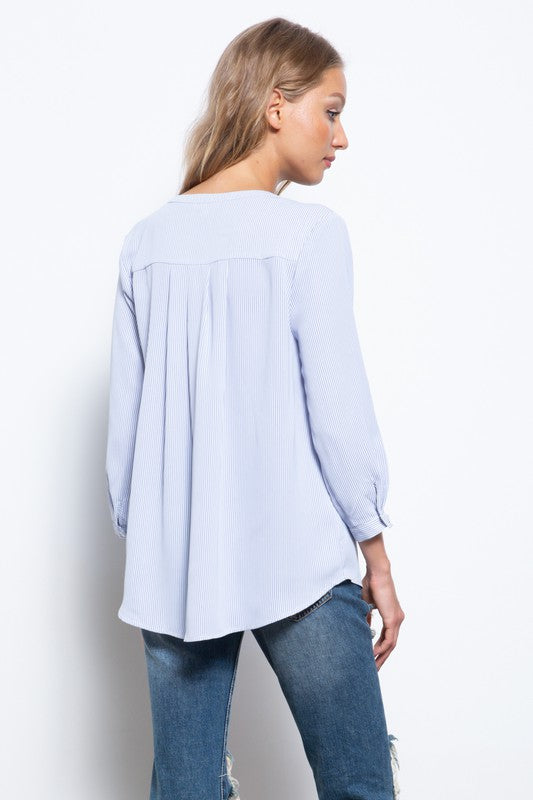 So Soft Pinstripe Blouse - FrouFrou Couture