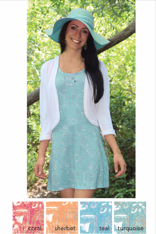 Teal Printed Tank Dress - FrouFrou Couture