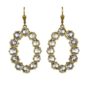 Catherine Popesco Oval Gold & Crystal Hoop Earrings