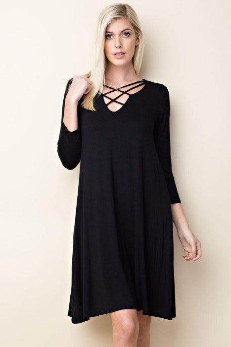Solid knit 3/4 sleeve trapeze dress