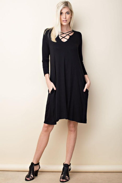Solid knit 3/4 sleeve trapeze dress - FrouFrou Couture