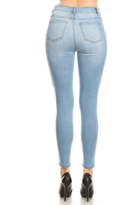 Classic High Waisted Ankle Cropped Skinny Jeans - FrouFrou Couture