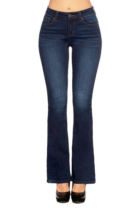 High Rise Solid Bootcut Jeans - EP3186