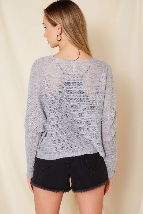 Grey Open Knit Boat Neck Knit Top