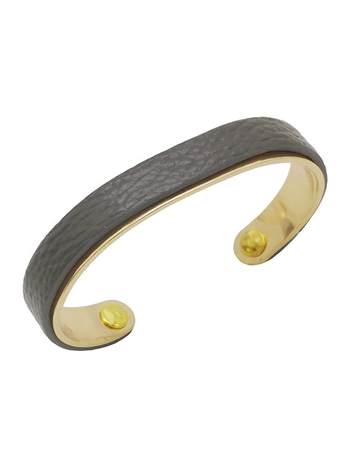 Genuine Leather and Brass Bracelet - Grey - FrouFrou Couture
