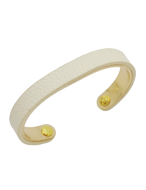 Genuine Leather and Brass Bracelet - Ivory