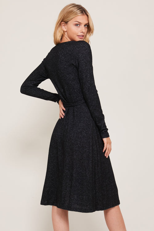 Black Ultra Soft Wrap, V Neck Midi Dress