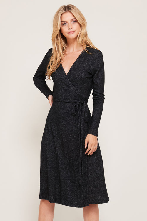 Black Ultra Soft Wrap Midi Dress