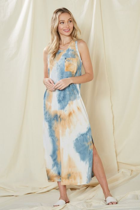 Tie Dye Rib Blue Maxi Tank Dress - FrouFrou Couture