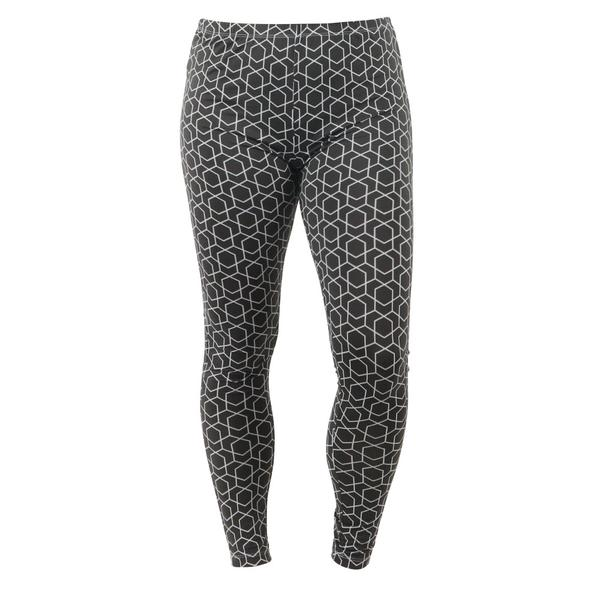 Minimal, white hexagonal pattern on medium gray. Rely on Lounge Luxe Leggings for a unique option that transitions from errands to movie night with subtle style. Comfort elastic waistband, soft stretch fabric, full-length inseam.