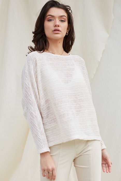 Ivory Open Boat Neck Knit Top