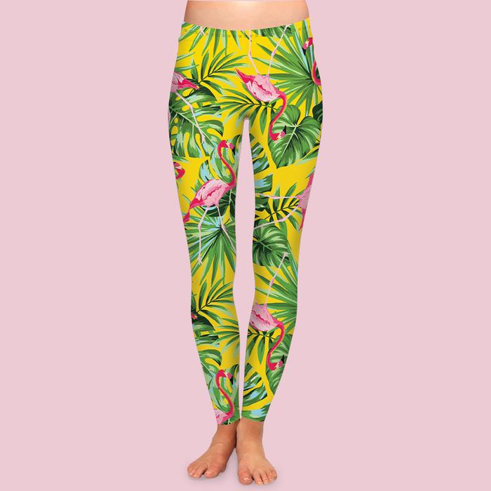Traveling tropical or wishing you were? Boca leggings channel the best parts of Florida: bright yellow sunshine, green palm leaves and pretty pink flamingos. Ultra-soft, high-waisted leggings give total comfort and unique style.