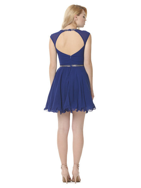 Beaded Sleevless Chiffon Skater Dress