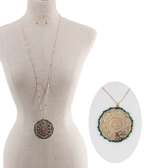 Filigree Beads Necklace Set - Green - FrouFrou Couture