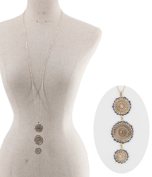 Filigree Metallic Beads Necklace Set - FrouFrou Couture