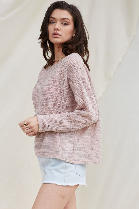Mauve Open Knit Boat Neck Knit Top
