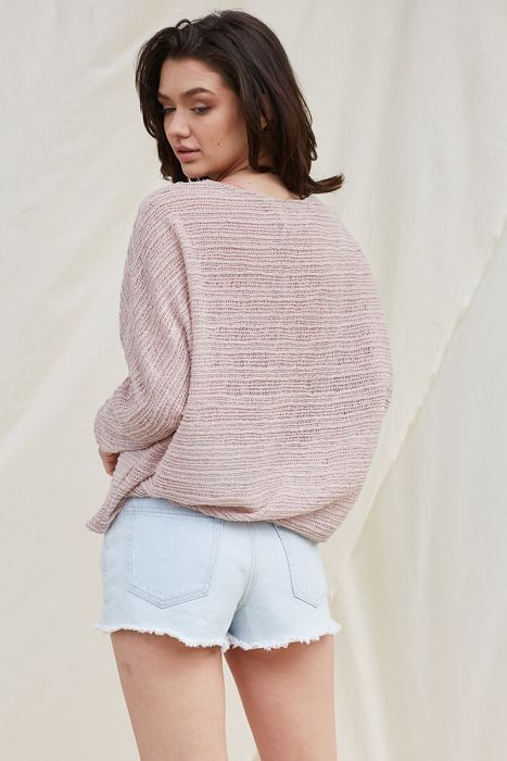 Mauve Back Open Knit Boat Neck Knit Top