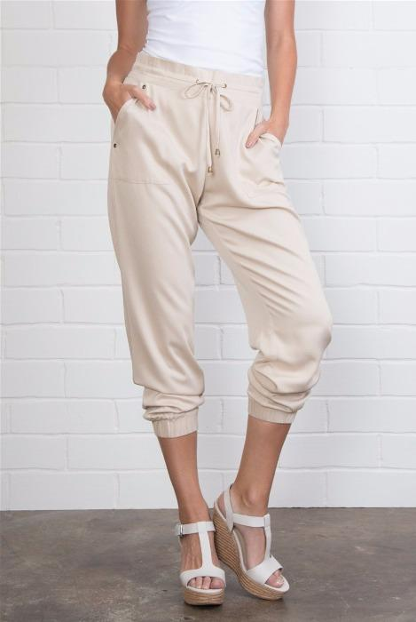 Cuffed Harem Pants -Almond - FrouFrou Couture