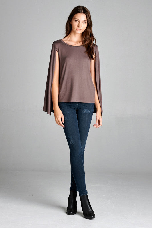 Tobacco cape sleeve top